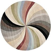 Safavieh Soho Collection SOH783A Handmade Abstract Pinwheel Multicolored Premium Wool Round Area Rug (6 Diameter)