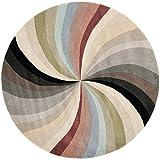 Safavieh Soho Collection SOH783A Handmade Abstract Pinwheel Multicolored Premium Wool Round Area Rug (6' Diameter)
