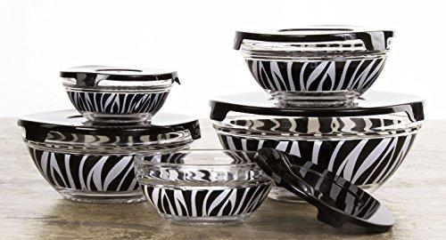 All Purpose Glass Lunch Bowl/Food Storage 10 Piece Set - Glass Bowl Set with Lids (Zebra Stripes)