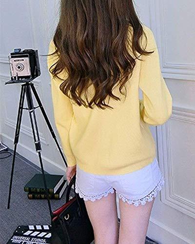 Jacket Bouton Elgante Fashion Basics Veste Tricoter Printemps Qualit De Manches en Vtements Bonne Manche Long Gelb Pullover Tricot Casual Outerwear Automne Femme Uni XWqqPY7w