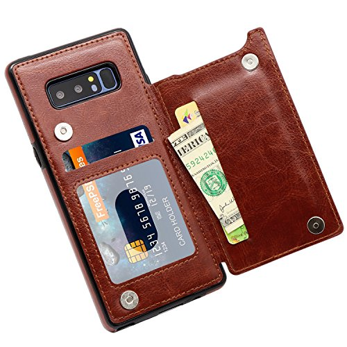 Galaxy Note 8 Wallet Case, MMHUO Premium PU Leather Galaxy Note 8 Case with Credit Card Holder Double Magnetic Buttons Flip Shockproof Protective Cover Samsung Galaxy Note 8 - Brown