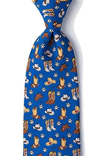 Men's Blue Western Cowboy Hats & Boots Novelty Tie Necktie