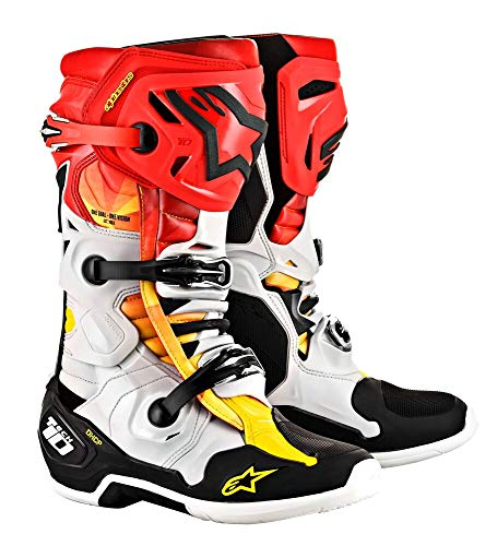 (Alpinestars Tech 10 limited Edition Indianapolis Men's Off-Road Motorcycle Boots - Mettalic Black/Red/Yellow / 9)