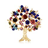 Mimgo Tree Brooch Rhinestone Decorative Charms Jewelry Badge Banquet Suit Scarf Pins