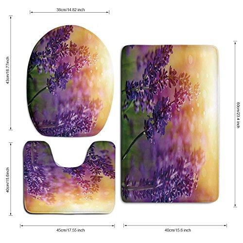 3 Piece Bath Mat Rug Set,Lavender,Bathroom Non-Slip Floor Mat,Detail-of-Scenic-Gardening-Plants-Flourishing-in-Springtime-Fresh-Woods,Pedestal Rug + Lid Toilet Cover + Bath Mat,Violet-Apricot-Green by iPrint (Image #3)