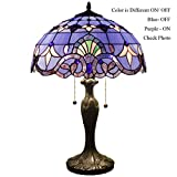 WERFACTORY Tiffany Style Table Lamp 24 inch tall Blue-Purple Baroque Shade 2 Bulb Desk Light Zinc Base