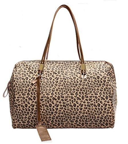 Buenocn Women Leopard Print Pu Leather Shell Top Handle Bag Shy038