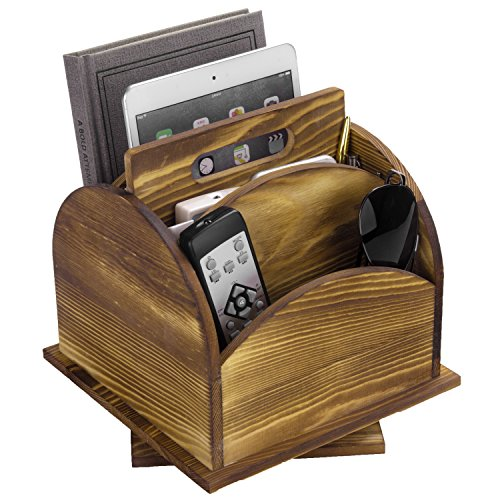 Rustic Wood Rotating Desktop Storage Organizer, Living Room Remote Control Caddy, Brown