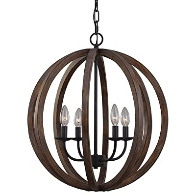 """Feiss F2935/4WOW/AF Allier Pendant Lighting, Brown, 4-Light (21""""Dia x 23""""H) 240watts"""
