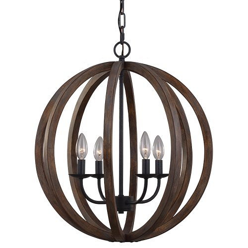 feiss f29354wowaf allier round pendant 4 light 240 watts antique forged iron - Feiss Lighting