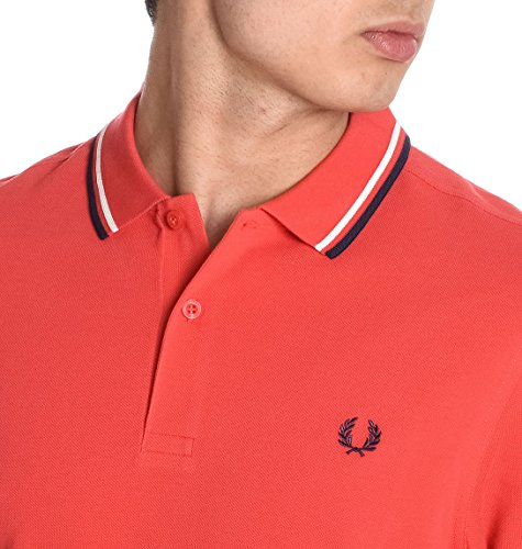 Fred Perry Herren FPM360021D74 Rot Baumwolle Poloshirt