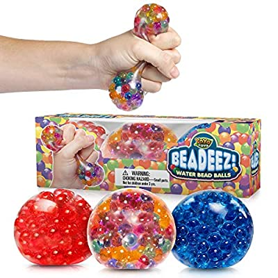 Beadeez! Ultimate Stress Relief Squeezing Balls 3-Pack for Kids & Adults | Premium Anti-Stress Squishy Balls with Water Beads | Alleviate Tension, Anxiety & Improve Focus | ADHD Sensory Toys Gift Set