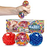 Beadeez Stress Relief Squeezing Balls 3-Pack for Kids and Adults - Premium Anti-Stress Squishy Balls with Water Beads - Alleviate Tension, Anxiety and Improve Focus - ADHD Sensory Toys Gift Set