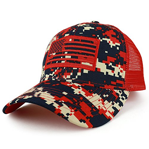 Red Camo Cap - Trendy Apparel Shop Camo USA American Flag Embroidered Mesh Back Trucker Cap - Digital RED
