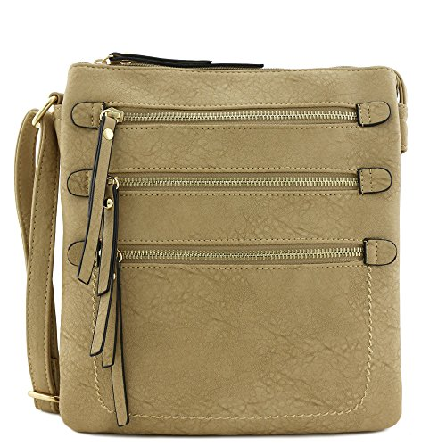 Double Front Pocket Handbag - Large Double Compartment Triple Front Pocket Zippers Crossbody Bag (Light Stone)