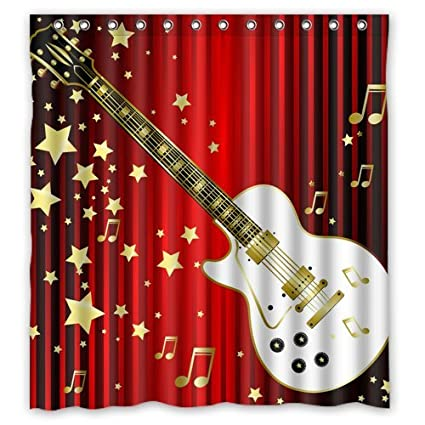 Amazon.com: Welcome!Waterproof Decorative Guitar Shower Curtain 66 ...