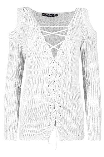 Be Jealous femmes froid Découpe épaule femmes pigeonnant col V manches longues tricot épais tricot UK grande taille 8-26 - Crème, Plus Size (UK 24/26)