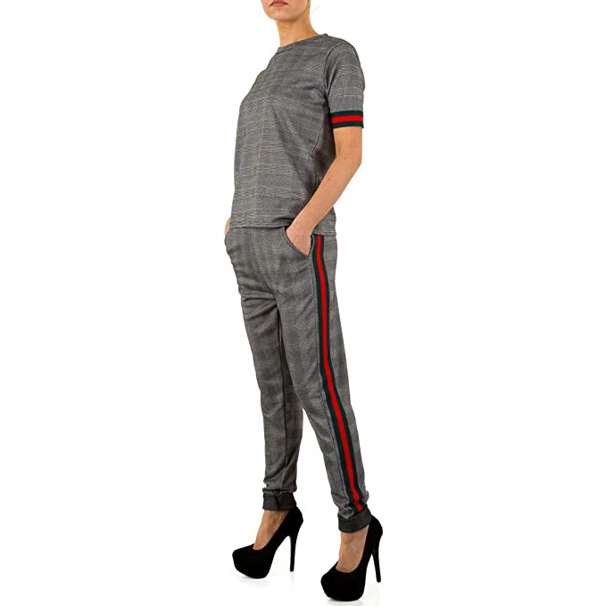 Schuhcity24 Damen Anzug Karierte Hose Blazer Jacke Bluse Hemd Rot Multi M L e339e2f4f1