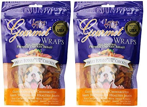 Loving Pets Gourmet Sweet Potato & Chicken Wraps Dog Treats with Glucosamine and Chondroitin, 2 Count
