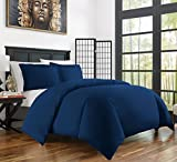 Zen Bamboo Ultra Soft 3-Piece Rayon Derived From Bamboo Duvet Cover Set - Hypoallergenic and Wrinkle Resistant - King/Cal King - Navy Blue