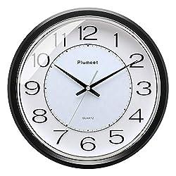 Plumeet 12.5 Modern Quartz Wall Clock, Silent Non Ticking Clocks for Bedroom, Battery Operated, Round,Black