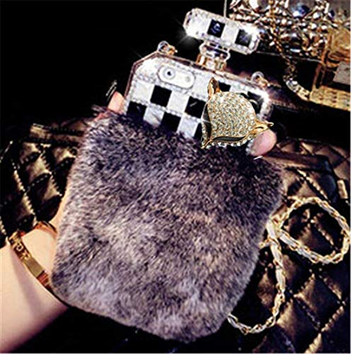 Fusicase for Galaxy Note 9 Perfume Case Luxury Shiny Crystal Sparkle Rhinestone Perfume Bottle Cover with Rex Rabbit Fur Shell Bling Diamond Hair Plush Case for Galaxy Note 9 + 1 Stand ()
