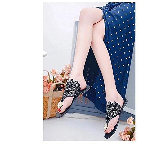 BININBOX Womens Summer Rhinestones Flip Flops Flat Slides Sandals Black Q1ECrYzBql