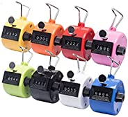Tebery Pack of 8 Color Hand Tally Counter 4 Digit Mechanical Palm Click Counter Count Clicker Assorted Color H