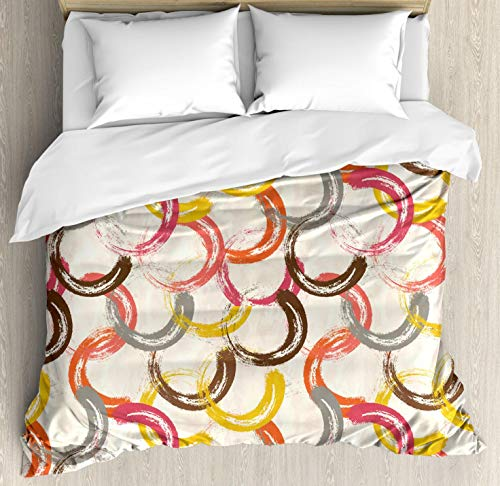 Bedding Set Retro Circles - Lunarable Geometric Duvet Cover Set Queen Size, Abstract Circle Round Shaped Colorful Bands with Grunge Effects Retro Funky Art, Decorative 3 Piece Bedding Set with 2 Pillow Shams, Multicolor