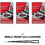 SanDisk Cruzer Blade 32GB (3 pack) SDCZ50-032G USB 2.0 Flash Drive Jump Drive Pen Drive SDCZ50-032G - Three Pack + BONUS Wisla Trust (TM) Lanyard