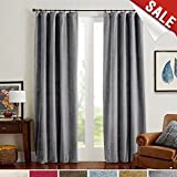 Grey Room Darkening Velvet Curtains 95 inch Long for Bedroom Thermal Insulated & Moderate Blackout Window Curtain for Living Room, Rod Pocket Single Width