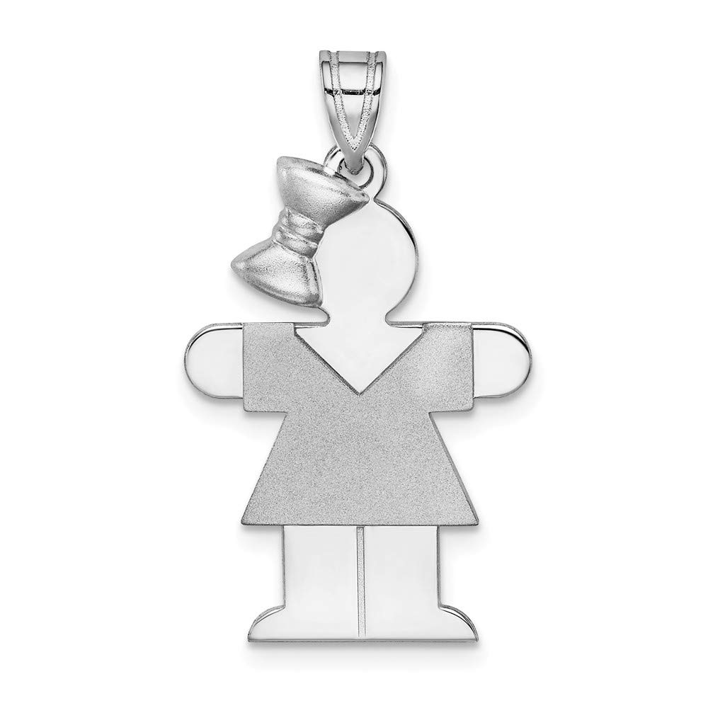 Jewels By Lux 14k White Gold Medium Girl w//Bow on Left Engravable Charm