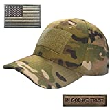 Lightbird Multicam Tactical Hat Bundle, Adjustable Tactical Hats for Man, Tactical Cap with 2 Tactical Morale Patches, Durable OCP Ball Cap for Work, Gym, Hiking, Gun Range and More (Camo)