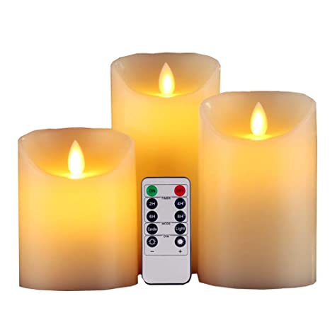 gbateri led flameless candle set of 3 dripless real wax flickeringgbateri led flameless candle set of 3 dripless real wax flickering pillar lights battery operated realistic