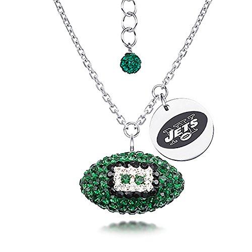 DiamondJewelryNY Silver Pendant, NFL New York Jets Football Necklace