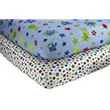 Little Bedding by NoJo 2 Count Crib Sheet Set, Monster Babies
