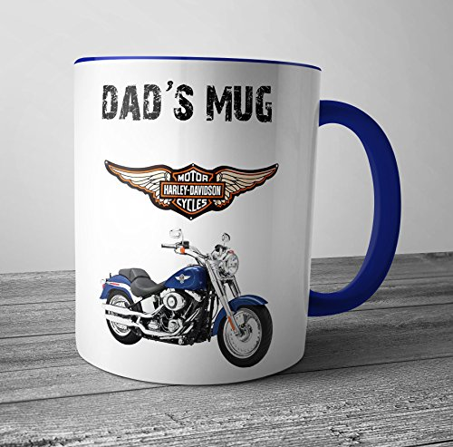 AKGifts Dad's Mug - Harley Davidson Motorbike Themed Fathers Day / Birthday Gift (7 - 10 BUSINESS DAYS DELIVERY FROM UK) (Birthday Hamper Delivery)