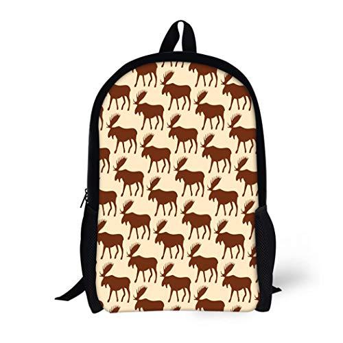 Pinbeam Backpack Travel Daypack Mounted Pattern Moose Animal Antique Antler Area Beast Waterproof School Bag