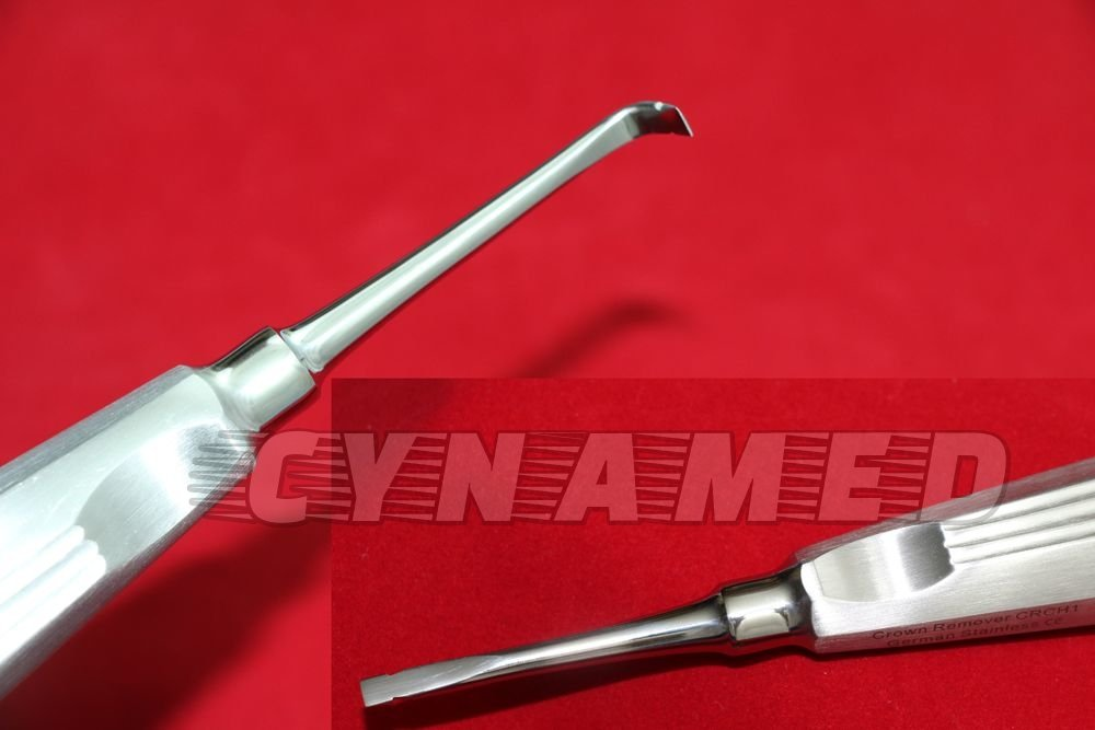 Set of 2 Each German Stainless Crown Remover/Spreaders Straight + Curved Dental Instruments Autoclavable ! A+ QUALITY