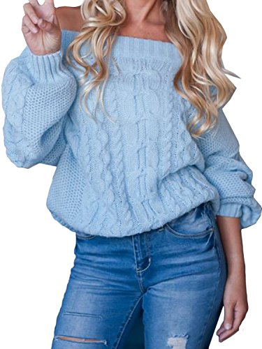 Joeoy Women's Blue Long Sleeve Wool Mohair Fluffy Off Shoulder Cable Knit Sweater Jumper Pullover-L (Mohair Cable)