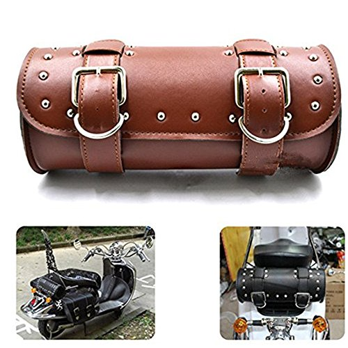 DLLL Universal Brown Motorcycle Round Barrel PU Leather T...