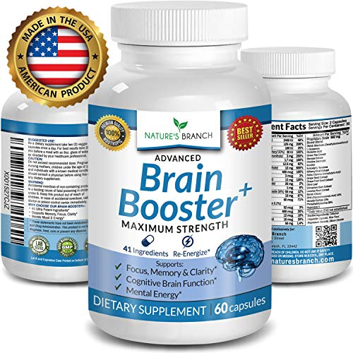 Advanced Brain Boost Supplement ★ 41 INGREDIENTS Memory Focus & Clarity Vitamins PLUS EBOOK Energy Booster Enhancer Nootropic Support Elevate Brain Power Function 60 Brain Health Formula Pills