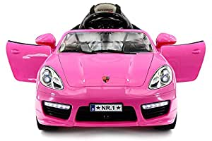Kiddie Roadster 12V Battery Power, 2 Motors Kids Ride-On Car MP3+USB Player, LED Wheels RC Parental Remote + 5 Point Safety Harness, Removable Baby Tray Table and Rubber Floor Matts | Pink