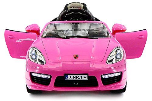 Moderno Kids Kiddie Roadster Children Ride-On Car with R/C Parental Remote 12V Battery Power LED Wheels Lights + 5 Point Seat Belt + MP3 Music Player + Baby Tray Table + Rubber Floor Mats (Pink)