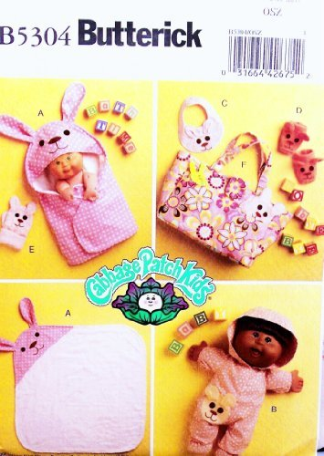 OOP Butterick Cabbage Patch Kids Pattern B5304, Bath Items for 11