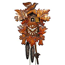 Wall Cuckoo Clock Mechanical 1 Day with 3 Birds & 5 Leaves; German Black Forest Coco Coo-Coo Clocks