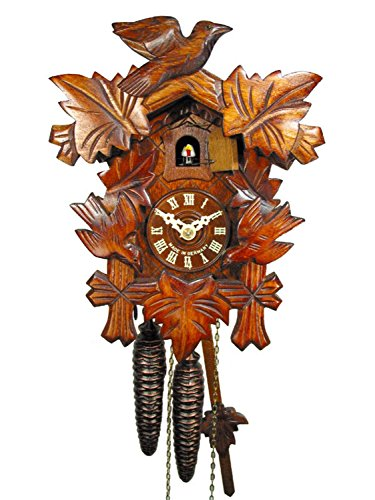 Wall Cuckoo Clock Mechanical 1 Day with 3 Birds & 5 Leaves; German Black Forest Coco Coo-Coo ()