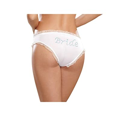 Dreamgirl Women s Microfiber Low-Rise Panty with Rhinestone Bride Detail 2e5f830a3