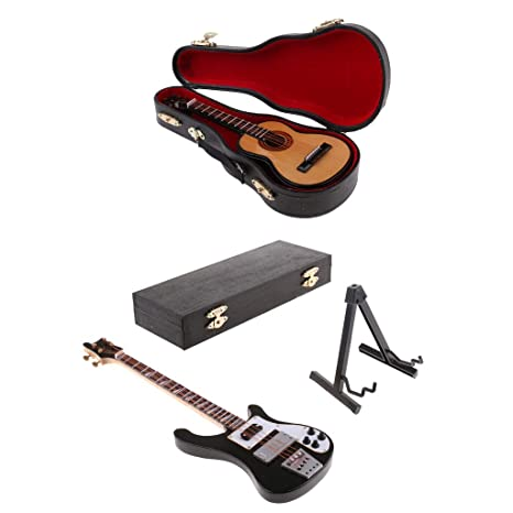 B Blesiya 1:6 Bajo Eléctrico y Guitarra Modelo Juguetes en Miniatura para 12 Pulgadas