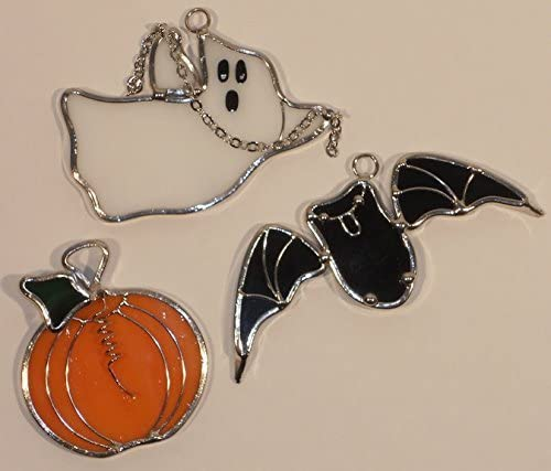 Halloween Ghost Bat and Pumpkin Stained Glass Mini Suncatchers Set OAF 3